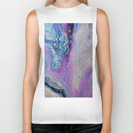 Purple Fluid Acrylic Abstract Painting - Slow Down  III Biker Tank