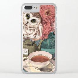 Morning Tea Owl Clear iPhone Case
