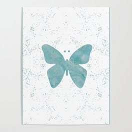 Decorative White Overlay Turquoise Marble Buttefly Poster