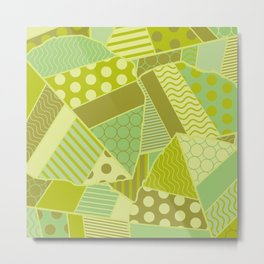 Graphic Leaf Patchwork (Spring Green Bold Colors) Metal Print