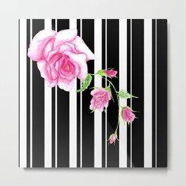 Pink rose on black stripes Metal Print
