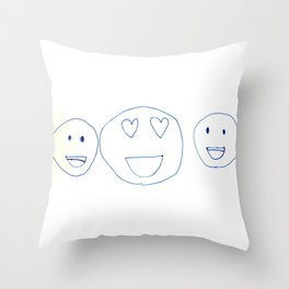 Smiley Faces with Heart Eyes Throw Pillow