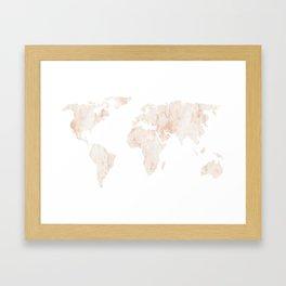 Marble World Map Light Pink Rose Gold Shimmer Framed Art Print