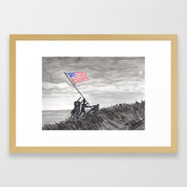 Raising the flag at Iwo Jima Framed Art Print