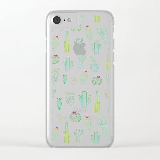 Dark Watercolour Cactus Clear iPhone Case