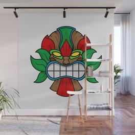 Tiki Mask - White Background Wall Mural
