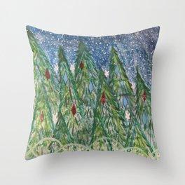 Snowy Pine Trees  Throw Pillow