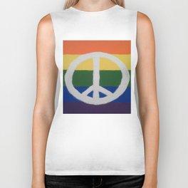 Rainbow Peace Sign Biker Tank