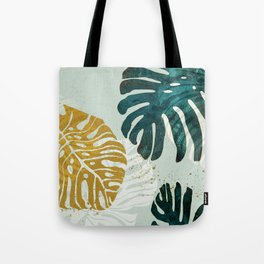 think big leaves philodendron leaves christmas green white gold Tote Bag