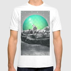 Echoes of a Lullaby / Geometric Moon MEDIUM White Mens Fitted Tee