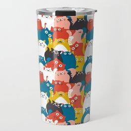 Cats Crowd Pattern Travel Mug