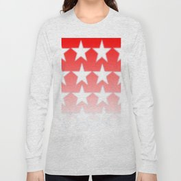 Red and White Stars, Faded Stars, Patriotic Long Sleeve T-shirt