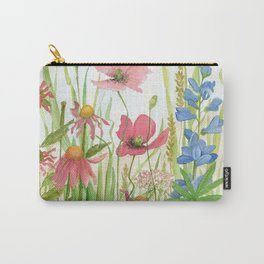 Watercolor Garden Flower Poppies Lupine Coneflower Wildflower Carry-All Pouch