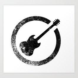 Guitar Ink Stamp Art Print