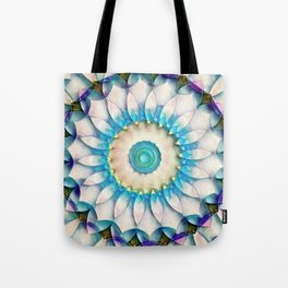 Aqua White Flower Kaleidoscope Tote Bag