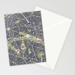 Paris city map engraving Stationery Cards
