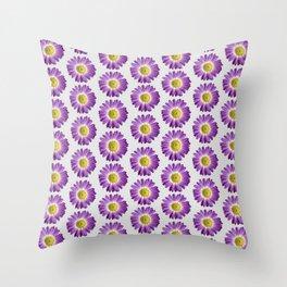 Purple Yellow Daisy Pattern,Retro Throw Pillow