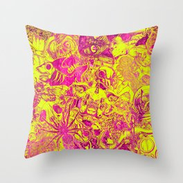 Pink Stickers Throw Pillow