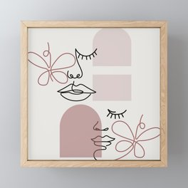 Boho Arches One Line Art Faces Pattern Framed Mini Art Print