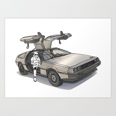 Stormtroooper in a DeLorean - star wars Art Print
