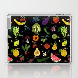 English fruit and vegetables alphabet on dark Laptop & iPad Skin