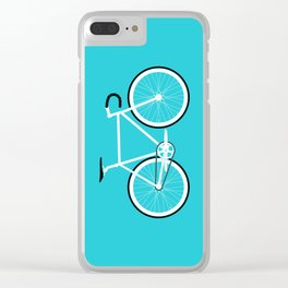 Turquoise Fixed Gear Road Bike Clear iPhone Case