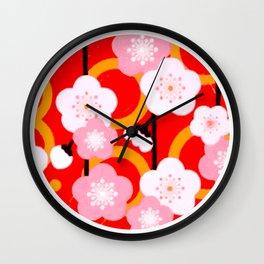 Japanese Circle 2 Cherry Tree Sakura Wall Clock