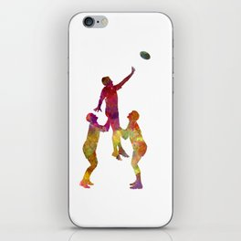 Rugby men players 01 in watercolor iPhone Skin