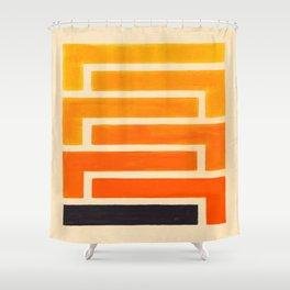 Orange & Black Geometric Pattern Shower Curtain