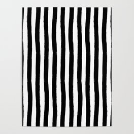 Black and White Cabana Stripes Palm Beach Preppy Poster