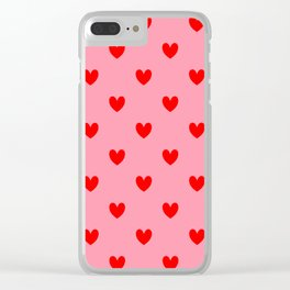 Red Heart Pattern Clear iPhone Case