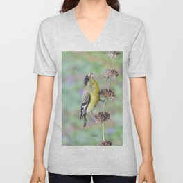 Lesser Goldfinch Snacks on Seeds Unisex V-Neck