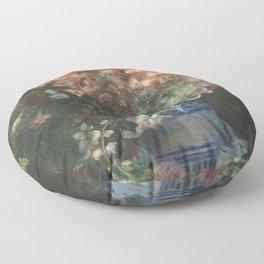 Gladioli in a Vase by Renoir Floor Pillow
