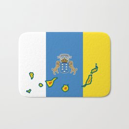 Canary Islands Flag with Map of the Canary Islands Islas Canarias Bath Mat