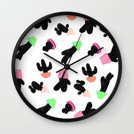 Modern back white cactus pattern pastel boho pots Wall Clock