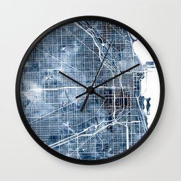 Chicago Map Blue Watercolor by Zouzounio Art Wall Clock