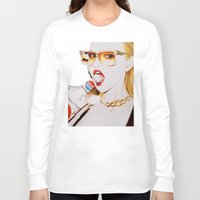 vodka Long Sleeve T-shirts featuring Feisty Vodka Girl by Liz Slome