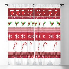Christmas Pattern Background - Red & Silver 64 Blackout Curtain