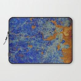 Boston Massachusetts 1893 colorful vintage old map. Orange and blue artwork Laptop Sleeve