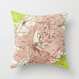 Vintage Map of Scranton Pennsylvania (1947) Throw Pillow