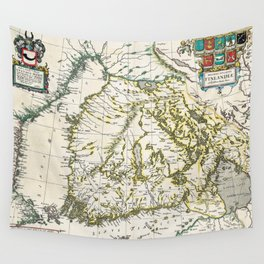 Vintage Map of Finland (1662) Wall Tapestry