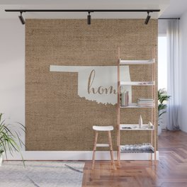 Oklahoma is Home - White on Burlap Wall Mural