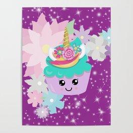 Unicorn Cupcake Sparkles Background Poster