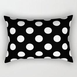 Black - White Polka Dots - Pois Pattern Rectangular Pillow