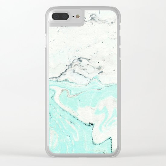 Light blue pastel marble Clear iPhone Case