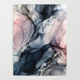 Blush, Navy and Gray Abstract Calm Clouds Poster