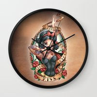 kiss Wall Clocks featuring Waiting For Loves True Kiss by Tim Shumate