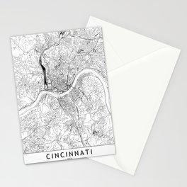 Cincinnati White Map Stationery Cards