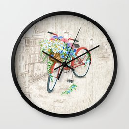 Vintage Red Bicycle with Flowers City Background Wall Clock