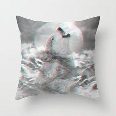 Maybe the Wolf Is In Love with the Moon v.2 (3D Effect) Throw Pillow